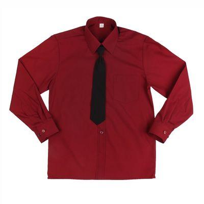 Сорочка для мальчика, нарядная с галстуком, рост 86 см (25), цвет бордо  1181_М