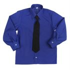 Сорочка для мальчика, нарядная с галстуком, рост 86 см (25), цвет васильковый  1181_М