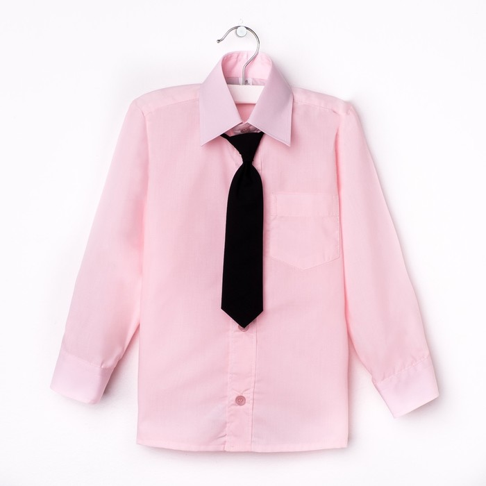 Сорочка для мальчика, нарядная с галстуком, рост 110-116 см (29), цвет светло-розовый  1181   192085