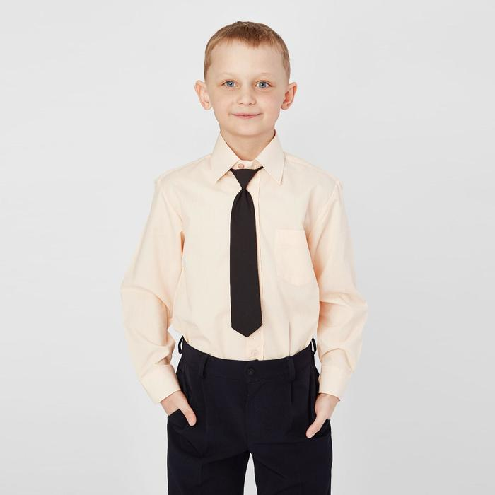 Сорочка для мальчика, нарядная с галстуком, рост 110-116 см (28), цвет персиковый 1181