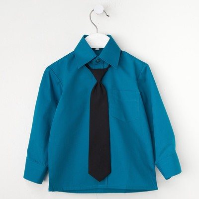 Сорочка для мальчика, нарядная с галстуком, рост 86 см (25), цвет морская волна 1181_М