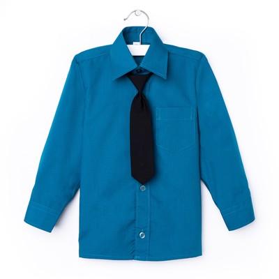 Сорочка для мальчика, нарядная с галстуком, рост 110-116 см (29), цвет морская волна 1181