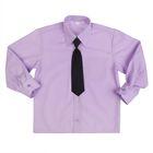 Сорочка для мальчика, нарядная с галстуком, рост 86 см (25), цвет сиреневый 1181_М