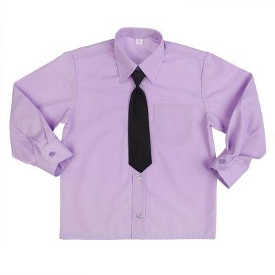Сорочка для мальчика, нарядная с галстуком, рост 98-104 см (26), цвет сиреневый 1181