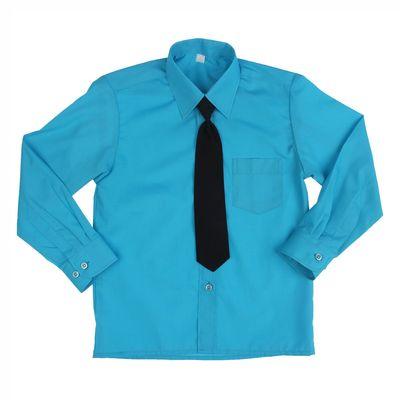 Сорочка для мальчика, нарядная с галстуком, рост 86 см (25), цвет бирюзовый 1181_М