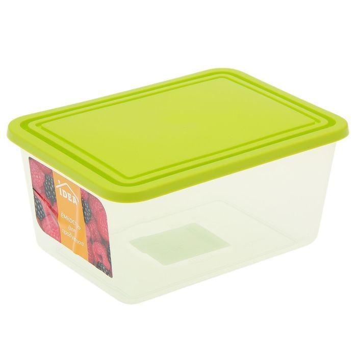 Емкость для продуктов прямоугольная 1,2 л, цвет салатовый