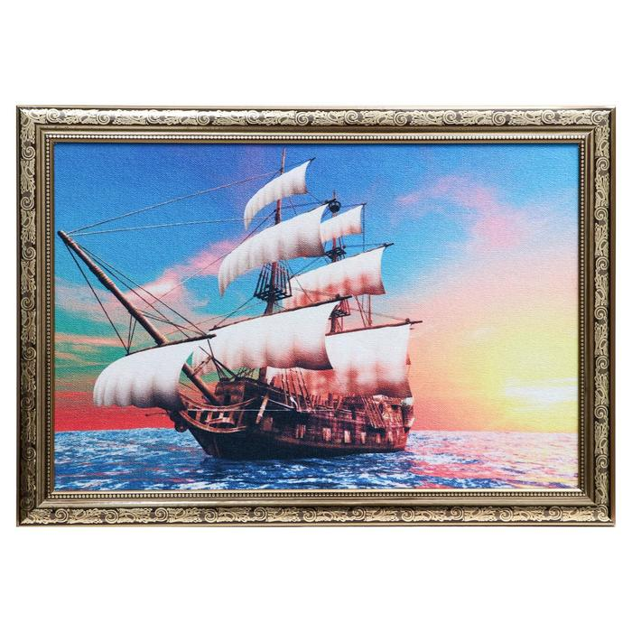 "Гобеленовая картина ""Корабль на закате"" 44x64 см, рама микс"