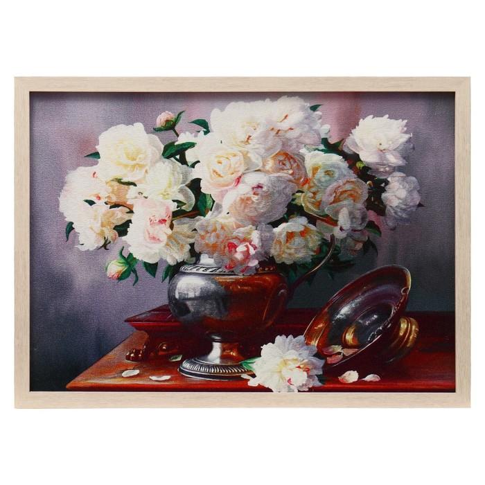 """Гобеленовая картина """"Розы белые"""" рама микс"""