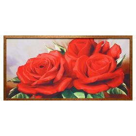 """Гобеленовая картина """"Розы красные"""" 63*123 см  рамка МИКС"""