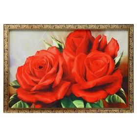 """Гобеленовая картина """"Розы красные"""" 44*64 см рамка микс"""