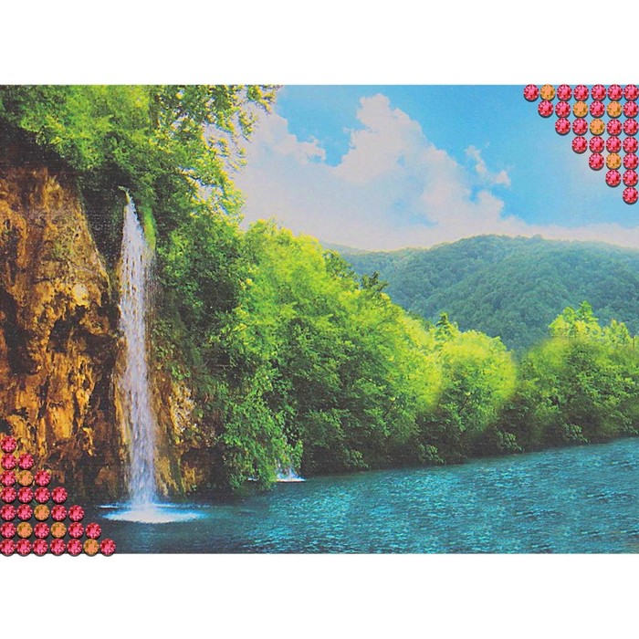 Алмазная вышивка ''Водопад'' холст, пинцет, емкость   1526554