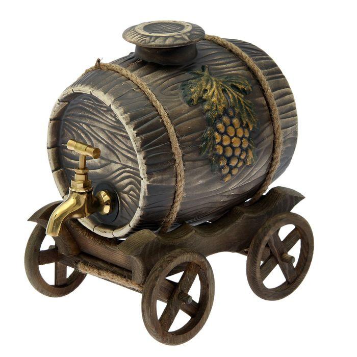 Бочка на деревянной телеге с виноградом, латунный кран, 3 л