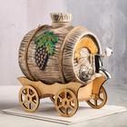 Бочка на деревянной телеге с виноградом, серебристый кран, 3 л