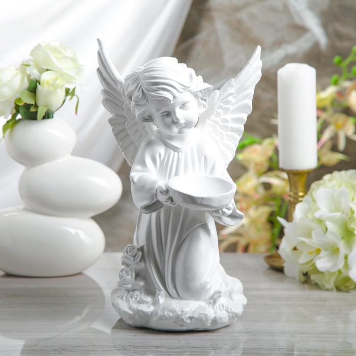 """Статуэтка """"Ангел с чашей"""" белый, 34 см - фото 797771291"""