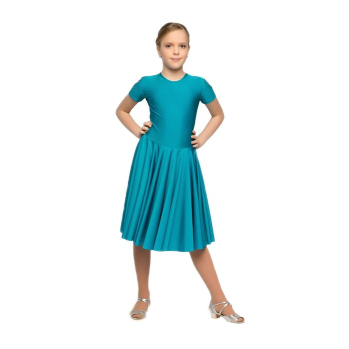Рейтинговое платье, с коротким рукавом, юбка-солнце, размер 38, цвет морской волны