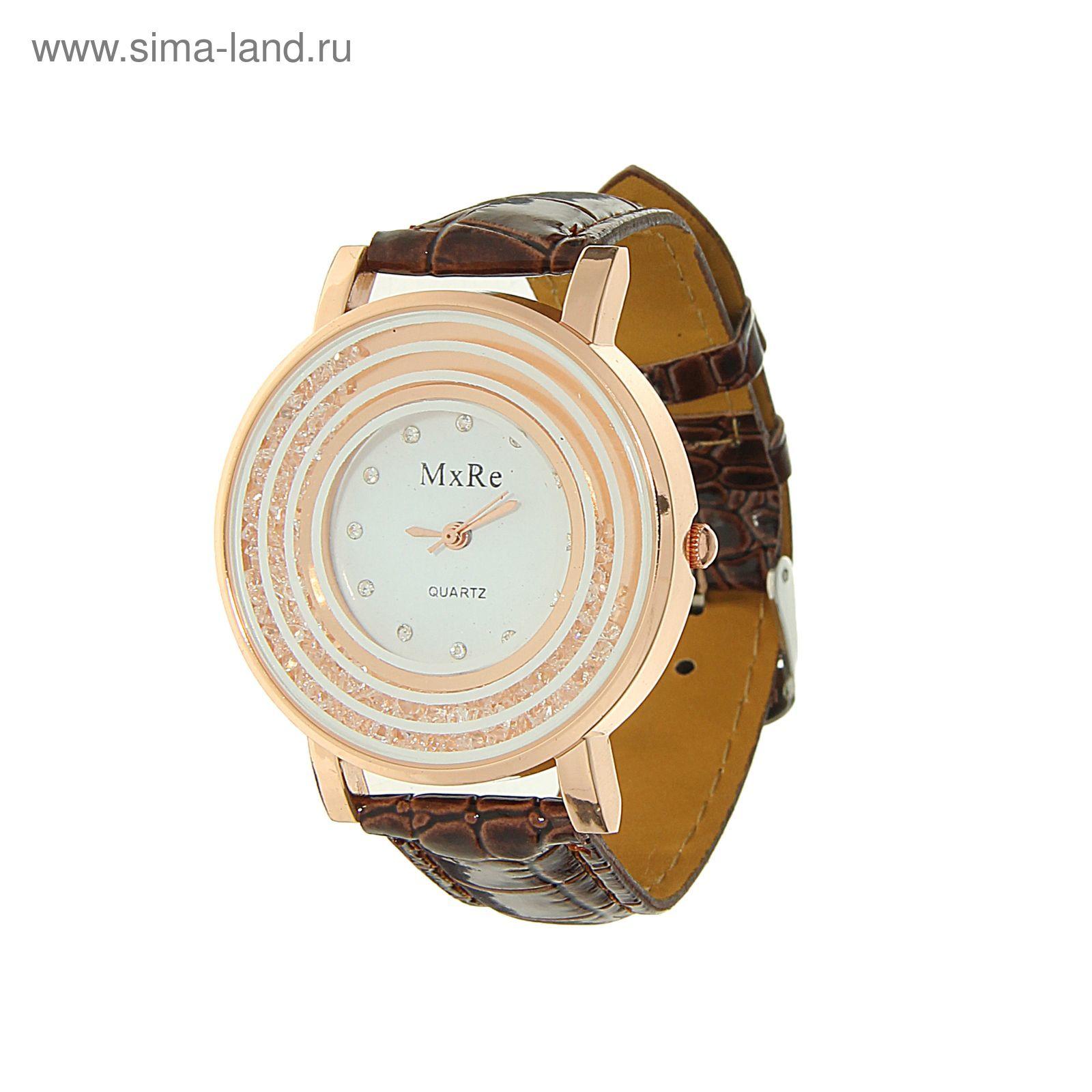 f63e54a7 Часы наручные женские MxRe, кристаллы, стразы, ремешок коричневый ...