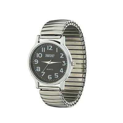 Часы наручные женские, цвет серебристый, чёрный циферблат, браслет-резинка, d-3 см