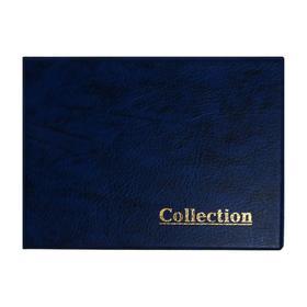 Альбом для монет горизонтальный на кольцах 230 х 170 мм Calligrata, 10 листов, на 180 монет, обложка искусственная кожа, синий