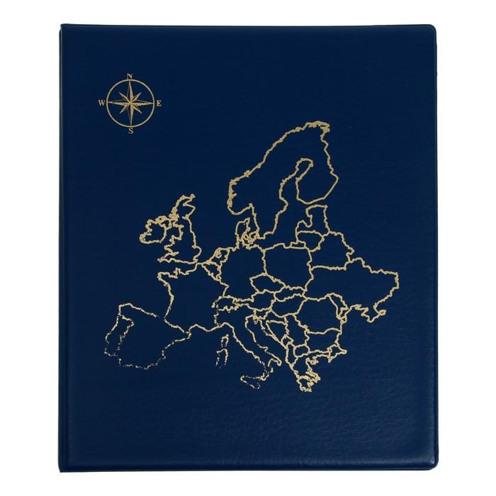 Альбом для монет, на кольцах, Оптима 230х265 мм, входит до 20 листов, обложка ПВХ, «Карта», микс