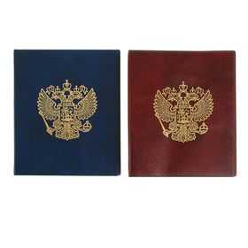 Альбом для монет, на кольцах, Оптима, 230 х 265 мм, входит до 20 листов, обложка искусственная кожа, «Герб», микс