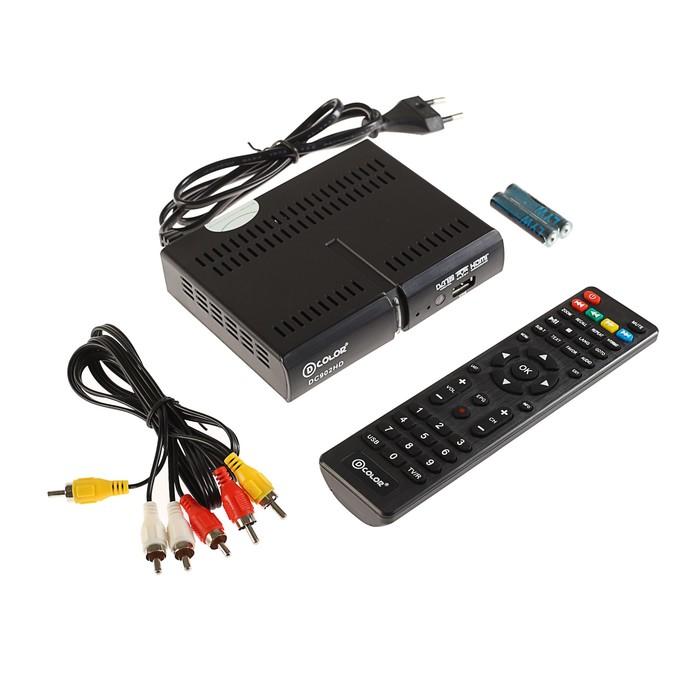 Приставка для цифрового ТВ D-COLOR DC902HD, FullHD, DVB-T2, HDMI, RCA, USB, черная