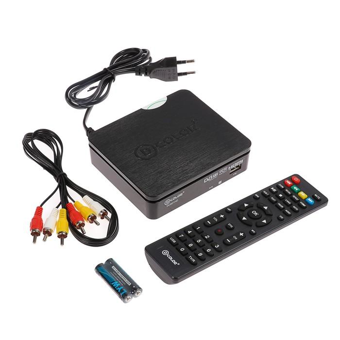 Приставка для цифрового ТВ D-COLOR DC921HD, FullHD, DVB-T2, HDMI, RCA, USB, черная