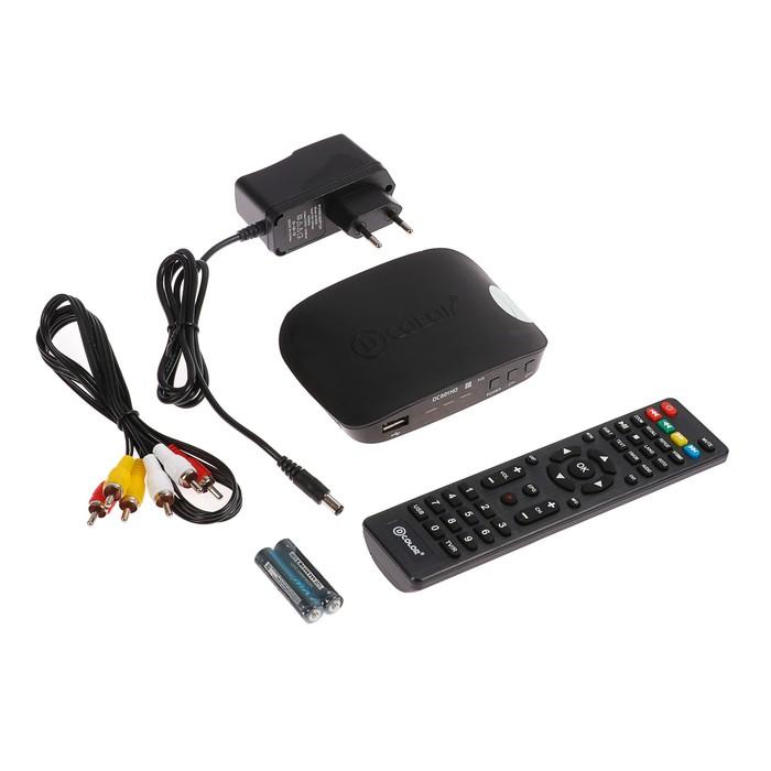 Приставка для цифрового ТВ D-COLOR DC801HD, FullHD, DVB-T2, дисплей, HDMI, RCA, USB, черная