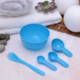 Set cosmetic mask-5 items: bowl, paddle, 3 tablespoons, MIX color