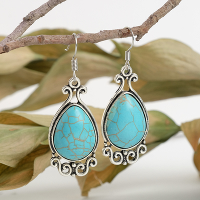"""Earrings """"Turquoise world"""" drop, color blue black silver"""