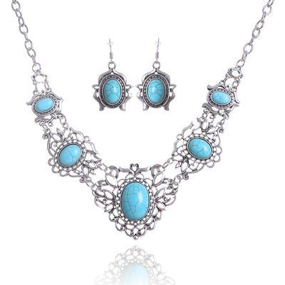 """Набор 2 предмета: серьги, колье """"Бирюзовый мир"""" ажур, цвет голубой в серебре"""