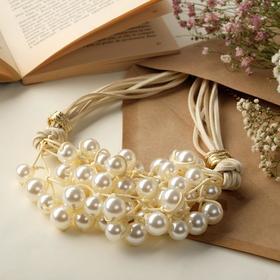 """Колье """"Вдохновение"""", цвет бело-бежевый в золоте, L=50 см"""