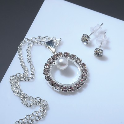 """Headsets 2 items: earrings, pendant """"Gravity"""", the circle with the bead, white color in silver"""
