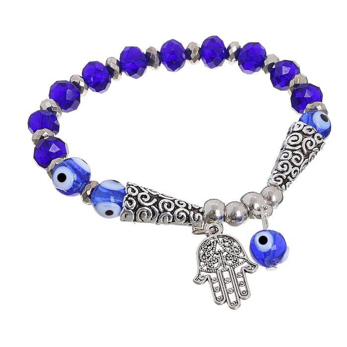 """Браслет-оберег """"Рука-Хамса"""" с бусиной, цвет синий в серебре - фото 296942506"""
