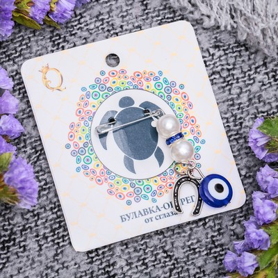 """Safety pin charm """"Horseshoe with pearls"""", 1.5 cm, color white-blue silver"""