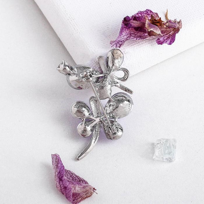 """Брошь """"Бабочки стеклянные"""", цвет сиреневый в серебре - фото 438295245"""
