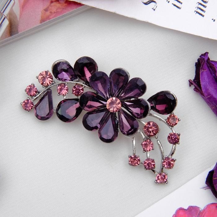 """Брошь """"Цветок стеклянный"""", цвет фиолетовый в серебре - фото 245325539"""