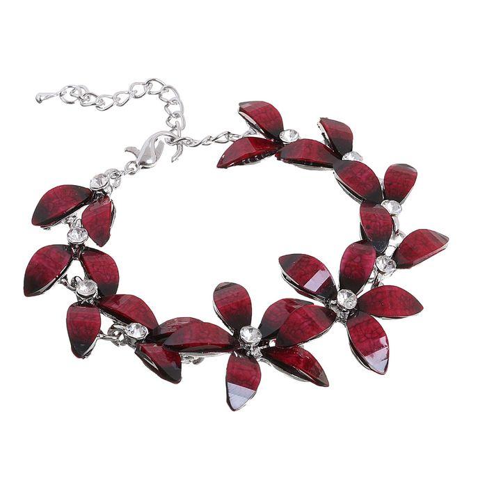 """Браслет ассорти """"Цветение"""", цвет бордовый в серебре"""