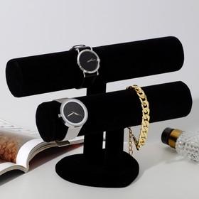 Подставка под браслеты, двухуровневая, основание сердце, D5см, 26*11*18, цвет черный