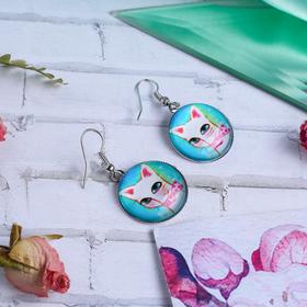 Серьги из стекла Candy кошечка, цветные в серебре Ош