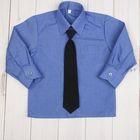 Сорочка для мальчика, нарядная с галстуком, рост 86 см (25), цвет океан  1181_М