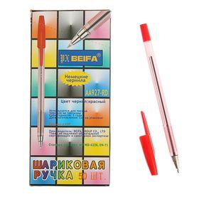 Ручка шариковая Beifa АА 927RD, металлический наконечник, стержень красный, узел 0.7мм Ош