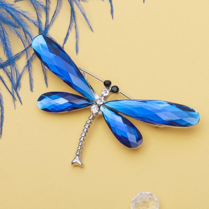 """Брошь """"Стрекоза"""", граненые крылья, цвет синий в серебре"""