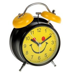 """Будильник """"Мордашка-улыбашка"""", d=11.5 см, жёлтый  микс"""