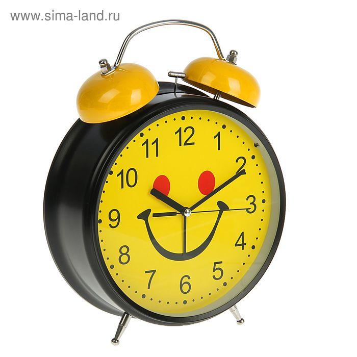 Будильник d=23см, черный, на циферблате Мордашка-улыбашка на желтом микс
