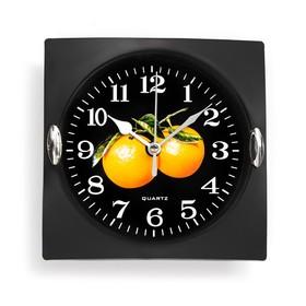 Часы настенные кухонные 'Клубника', 15 × 15 см, чёрные, вставки хром Ош