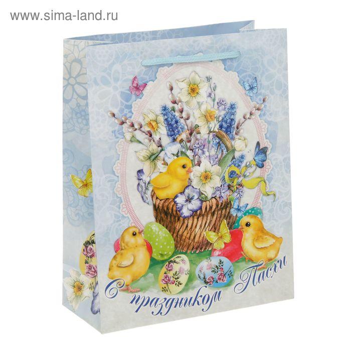 Пакет ламинат вертикальный «С праздником Пасхи», MS 18 х 23 х 8 см