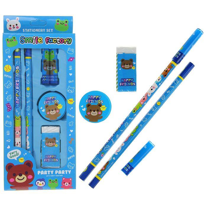 Набор канцелярский детский 6 предметов(2карандаша+2колпачка+ластик+точилка) МИКС