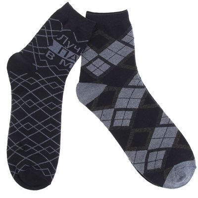 """Set of men's socks (2 pairs) """"the Best dad in the world"""" R-R 27-29 , 80% CL.,15% p/a, 5% El."""