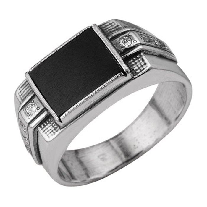 Кольцо ''Перстень'' прямоугольник с вставками, посеребрение с оксидированием, 22 размер 2000140