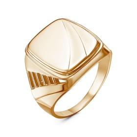 """Кольцо """"Перстень"""" мужской, позолота, 20,5 размер"""